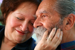 An older couple in love